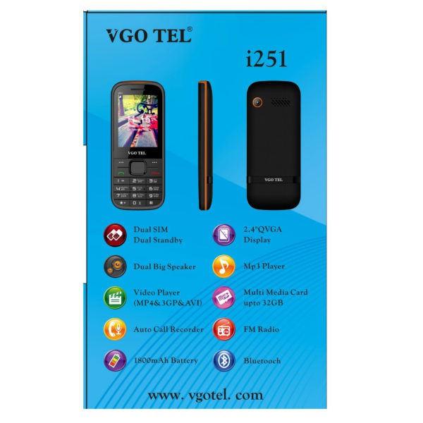 VGO TEL I251 Black Red with Official Warranty